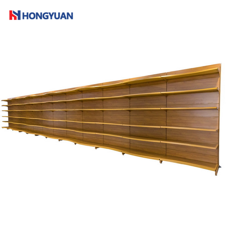 Curved wood grain display rack